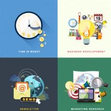 4款扁平化商务背景矢量素材图片