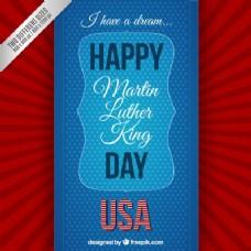 快乐的马丁路德金日在红色和蓝色的背景