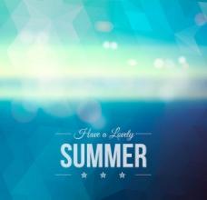 蓝色夏季模糊背景