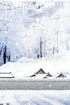 冬季飘雪海报背景设计