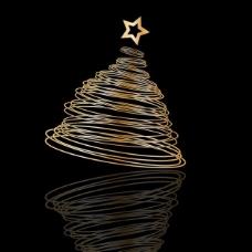 黑色背景上的螺旋形圣诞树