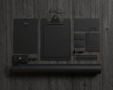木板上的黑色VI背景