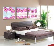 卧室花朵三联画