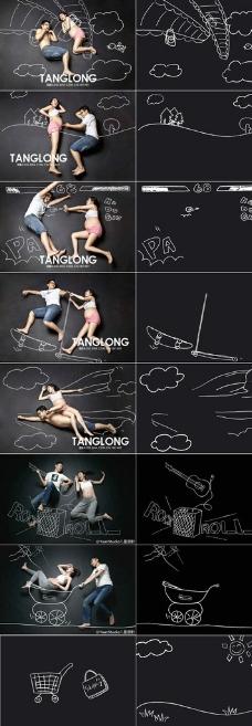 手绘孕妇照手绘线形素材图片