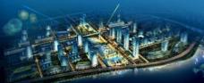 滨水城市景观夜景效果图图片