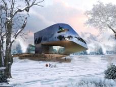 现代场馆  建筑   外观  效果