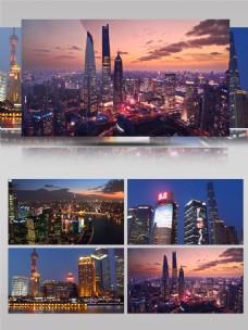 延时拍摄国际大都市上海夜景实拍