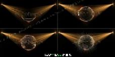 科技地球光线投射AE模板
