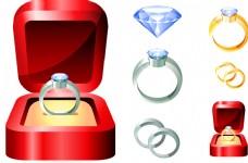 几款钻石戒指和首饰盒