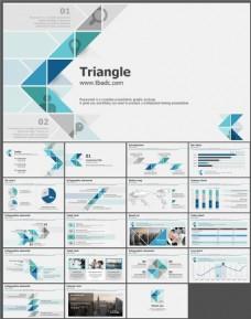 彩色时尚三角形拼接艺术商务PPT模板 (2)