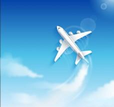 蓝天中翱翔的飞机