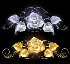 金色银色玫瑰花图片