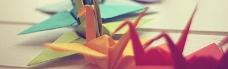 彩色千纸鹤banner创意设计