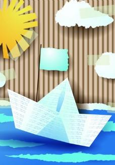 扁平纸船背景装饰