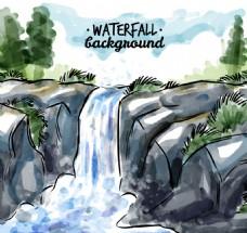 手绘风景背景瀑布