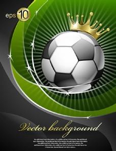 创意皇冠足球背景矢量素材图片