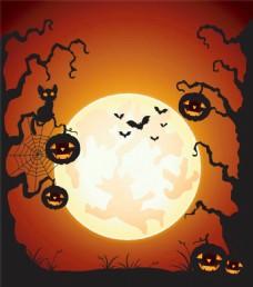 南瓜灯月亮万圣节背景图片