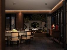 中式餐厅效果图图片