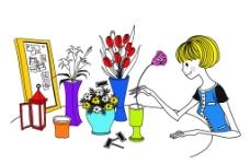 手绘女孩插花图片