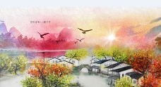 江南水乡彩绘