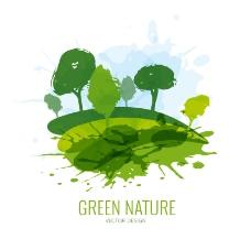 水彩绘绿色自然