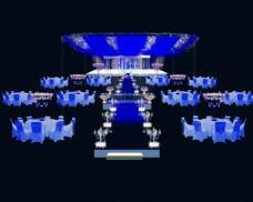 蓝色婚礼舞台效果