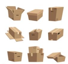 创意纸箱子矢量图图片