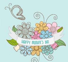 卡通母亲节花卉矢量素材图片