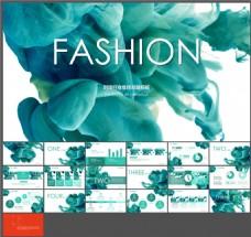 时尚行业年终总结-大气水烟-梦幻松石绿-PPT模板