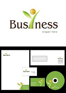 绿叶和金币logo设计
