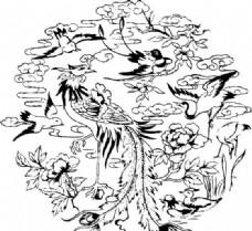 凤凰 凤纹图案 鸟类装饰图案 矢量素材 CDR格式_0048