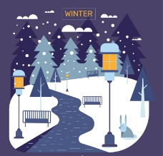冬季街道风景矢量素材