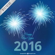 蓝色的新年烟花背景