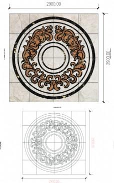 水刀地面瓷砖拼花CAD图9