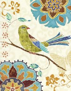 小鸟花卉油画背景