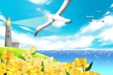 手绘卡通海鸥灯塔风景插画图片