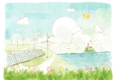 手绘卡通海边风景插画图片