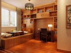 书房模型,3d设计,桌椅组合
