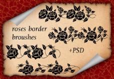 玫瑰花藤蔓装饰PS笔刷