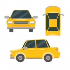 黄色卡通小轿车设计
