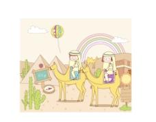 沙漠旅行插画图片