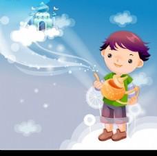 拿着拉丁神壶站在白云上的可爱小男孩