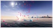 和平鸽玫瑰花海景背景图