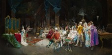 欧洲宫廷人物油画装饰画背景