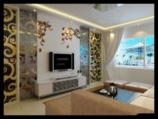 欧式电视背景墙客厅模型