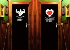 厕所门背胶门贴图片