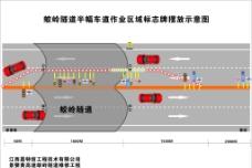 高速路维修半幅车道交通指示牌摆图片