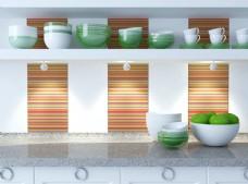 厨房置物架上的瓷碗图片