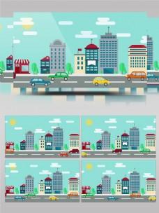 卡通城市建筑街道交通运输mg动画