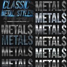 颓废金属和银色质感PS字体样式